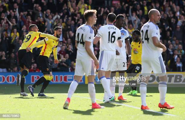 Miguel Britos of Watford celebrates scoring his sides first goal during the Premier League match between Watford and Sunderland at Vicarage Road on...