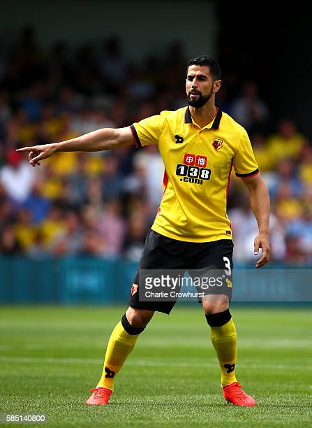 Miguel Britos of Watford during the pre season friendly match between Queens Park Rangers and Watford at Loftus Road on July 30 2016 in London England