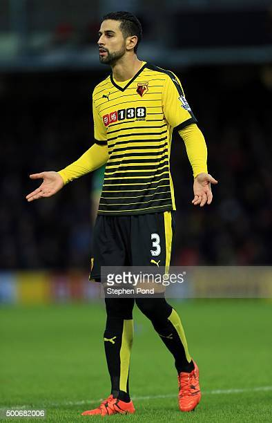 Miguel Britos of Watford during the Premier League match between Watford and Norwich City at Vicarage Road stadium on December 5 2015 in Watford...