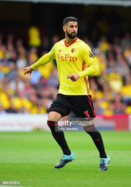 Miguel Britos of Watford during the Premier League match between Watford and Liverpool at Vicarage Road on August 12 2017 in Watford England