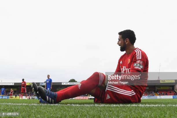 Miguel Britos of Watford looks on during the preseason friendly match between AFC Wimbledon and Watford at The Cherry Red Records Stadium on July 15...