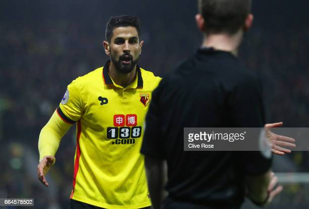 Miguel Britos of Watford pleads his innocence during the Premier League match between Watford and West Bromwich Albion at Vicarage Road on April 4...