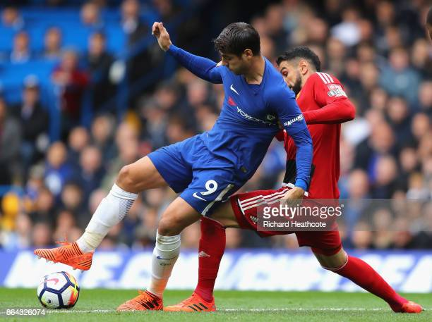 Miguel Britos of Watford puts pressure on Alvaro Morata of Chelsea during the Premier League match between Chelsea and Watford at Stamford Bridge on...