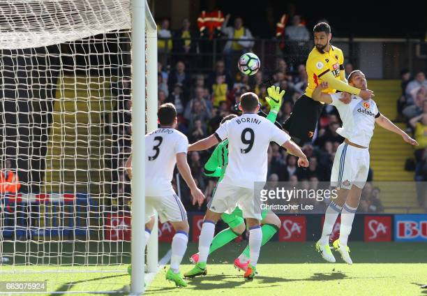 Miguel Britos of Watford scores his sides first goal during the Premier League match between Watford and Sunderland at Vicarage Road on April 1 2017...