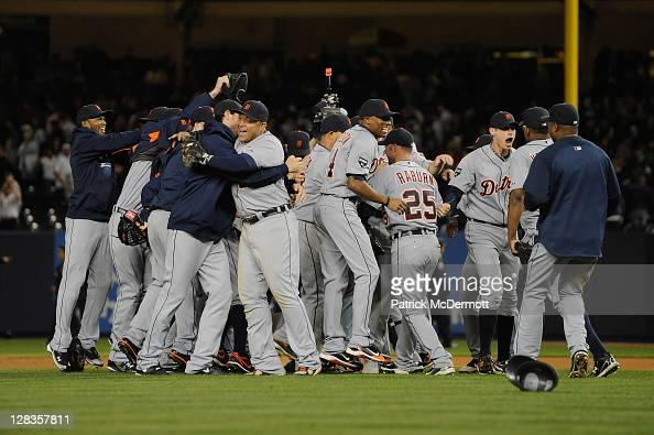 Miguel Cabrera of the Detroit Tigers celebrates with his teammates after the Tigers won 32 against the New York Yankees during Game Five of the...