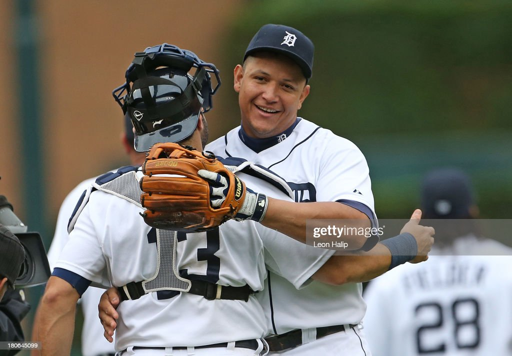 <a gi-track='captionPersonalityLinkClicked' href=/galleries/search?phrase=Miguel+Cabrera&family=editorial&specificpeople=202141 ng-click='$event.stopPropagation()'>Miguel Cabrera</a> #24 and <a gi-track='captionPersonalityLinkClicked' href=/galleries/search?phrase=Alex+Avila&family=editorial&specificpeople=5749211 ng-click='$event.stopPropagation()'>Alex Avila</a> #13 of the Detroit Tigers celebrate a win over the Kansas City Royals at Comerica Park on September 15, 2013 in Detroit, Michigan. The Tigers defeated the Royals 3-2.