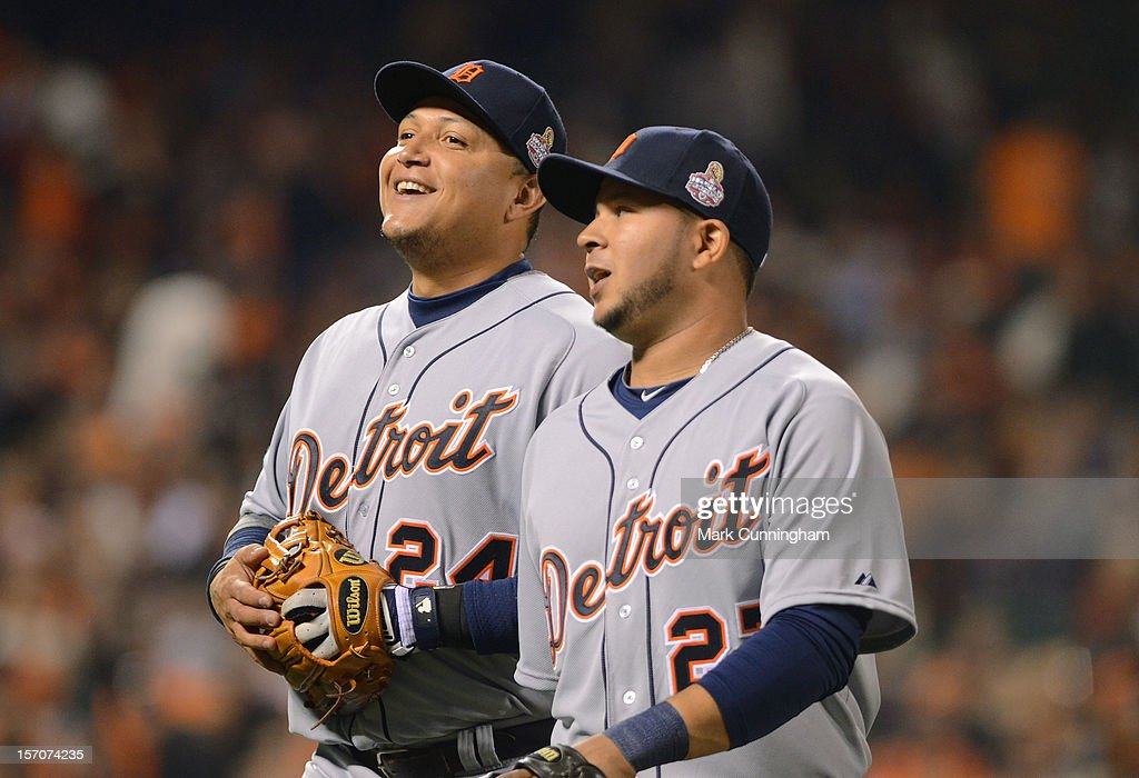 Miguel Cabrera #24 and Jhonny Peralta #27 of the Detroit Tigers look on during Game Two of the World Series against the San Francisco Giants at AT&T Park on October 25, 2012 in San Francisco, California. The Giants defeated the Tigers 2-0.