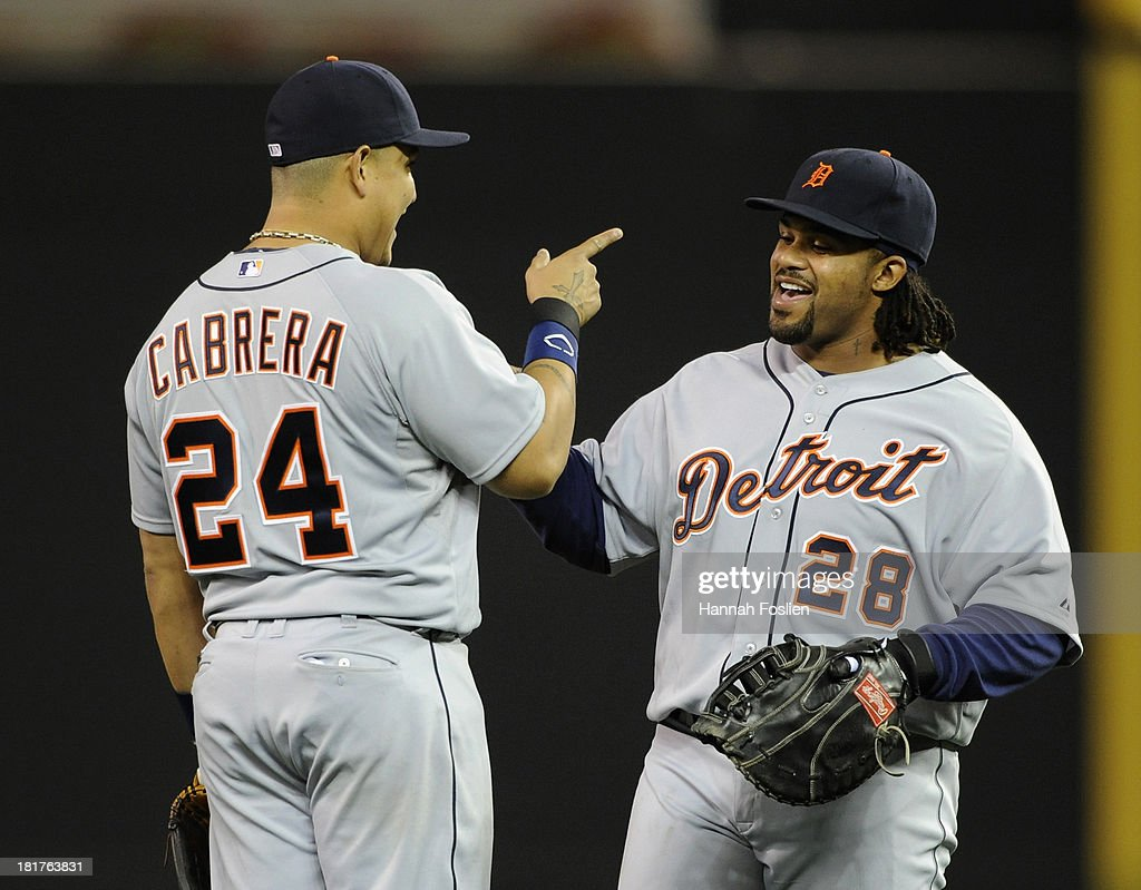 <a gi-track='captionPersonalityLinkClicked' href=/galleries/search?phrase=Miguel+Cabrera&family=editorial&specificpeople=202141 ng-click='$event.stopPropagation()'>Miguel Cabrera</a> #24 and <a gi-track='captionPersonalityLinkClicked' href=/galleries/search?phrase=Prince+Fielder&family=editorial&specificpeople=209392 ng-click='$event.stopPropagation()'>Prince Fielder</a> #28 of the Detroit Tigers celebrate a win of the game against the Minnesota Twins on September 24, 2013 at Target Field in Minneapolis, Minnesota. The Tigers defeated the Twin 4-2.