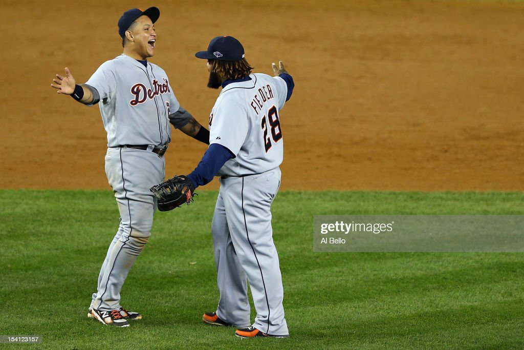 <a gi-track='captionPersonalityLinkClicked' href=/galleries/search?phrase=Miguel+Cabrera&family=editorial&specificpeople=202141 ng-click='$event.stopPropagation()'>Miguel Cabrera</a> #24 and Prince Fielder #28 of the Detroit Tigers celebrate after they won 3-0 against the New York Yankees during Game Two of the American League Championship Series at Yankee Stadium on October 14, 2012 in the Bronx borough of New York City.