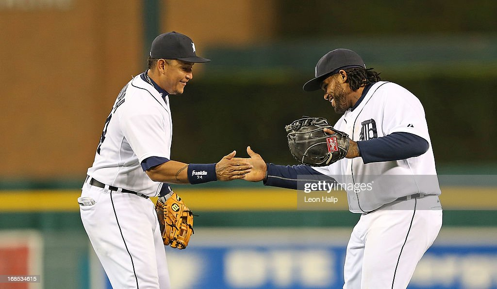 <a gi-track='captionPersonalityLinkClicked' href=/galleries/search?phrase=Miguel+Cabrera&family=editorial&specificpeople=202141 ng-click='$event.stopPropagation()'>Miguel Cabrera</a> #24 and <a gi-track='captionPersonalityLinkClicked' href=/galleries/search?phrase=Prince+Fielder&family=editorial&specificpeople=209392 ng-click='$event.stopPropagation()'>Prince Fielder</a> #28 of the Detroit Tigers celebrates a win over the Cleveland Indians at Comerica Park on May 10, 2013 in Detroit, Michigan. The Tigers defeated the Indians 10-4.