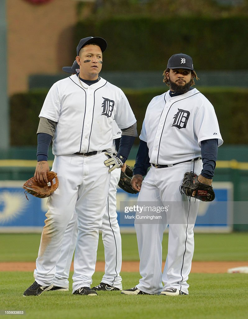 Miguel Cabrera #24 and Prince Fielder #28 of the Detroit Tigers look on against the New York Yankees in Game Four of the American League Championship Series at Comerica Park on October 18, 2012 in Detroit, Michigan. The Tigers defeated the Yankees 8-1 and now advance to the World Series.