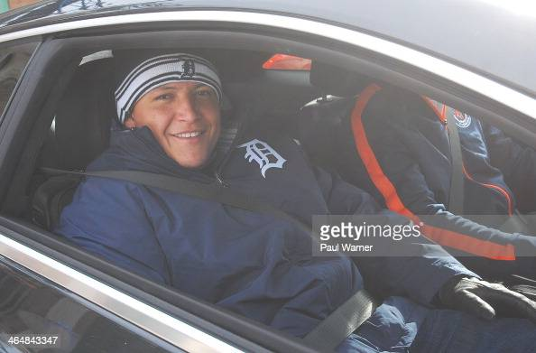 Miguel Cabrera attends the Detroit Tigers winter caravan at Comerica Park on January 24 2014 in Detroit Michigan