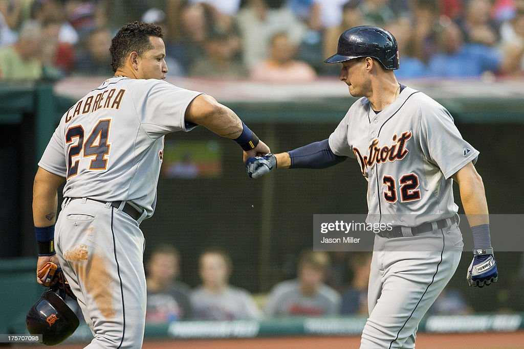 <a gi-track='captionPersonalityLinkClicked' href=/galleries/search?phrase=Miguel+Cabrera&family=editorial&specificpeople=202141 ng-click='$event.stopPropagation()'>Miguel Cabrera</a> #24 celebrates with Don Kelly #32 of the Detroit Tigers after Kelly hit a three run home run during the fifth inning against the Cleveland Indians at Progressive Field on August 6, 2013 in Cleveland, Ohio.