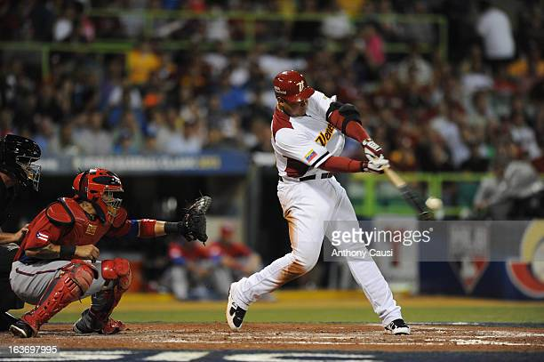 Miguel Cabrera of Team Venezuela bats during Pool C Game 4 against Puerto Rico in the first round of the 2013 World Baseball Classic at Hiram Bithorn...