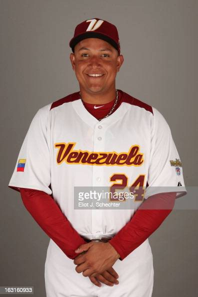Miguel Cabrera of Team Venezuela poses for a headshot for the 2013 World Baseball Classic at Roger Dean Stadium on Monday March 4 2013 in Jupiter...