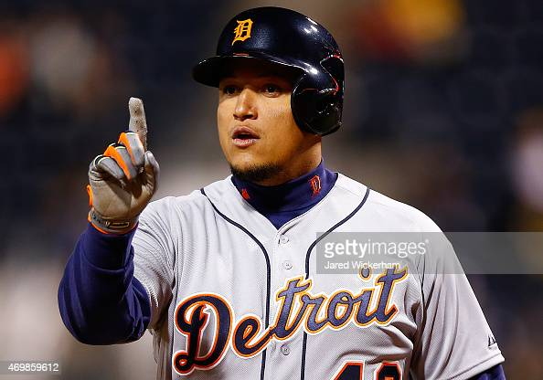 Miguel Cabrera of the Detroit Tigers argues with the umpires in the ninth inning against the Pittsburgh Pirates while wearing the to commemorate...