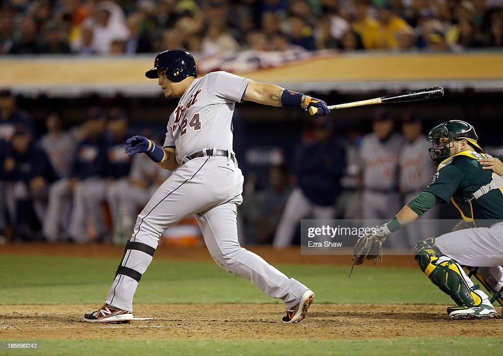 <a gi-track='captionPersonalityLinkClicked' href=/galleries/search?phrase=Miguel+Cabrera&family=editorial&specificpeople=202141 ng-click='$event.stopPropagation()'>Miguel Cabrera</a> #24 of the Detroit Tigers bats against the Oakland Athletics at O.co Coliseum on October 4, 2013 in Oakland, California.