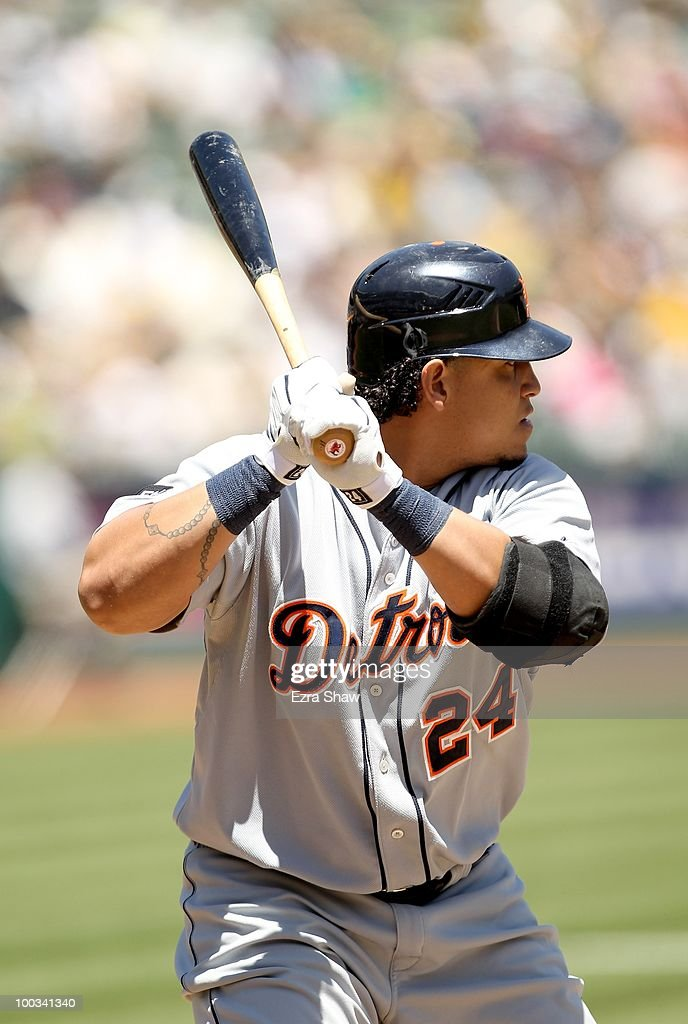 Miguel Cabrera #24 of the Detroit Tigers bats against the Oakland Athletics at the Oakland-Alameda County Coliseum on May 20, 2010 in Oakland, California.