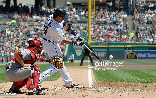 Miguel Cabrera of the Detroit Tigers bats against the Washington Nationals during the game at Comerica Park on June 17 2010 in Detroit Michigan The...