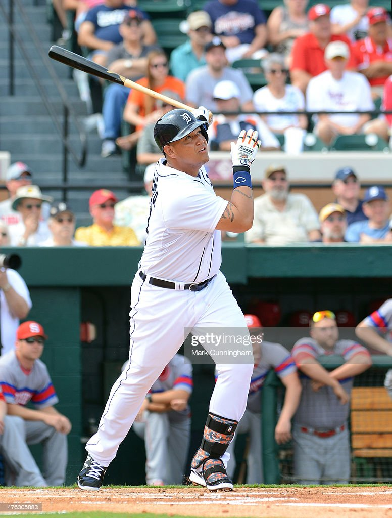 Miguel Cabrera #24 of the Detroit Tigers bats during the spring training game against the Florida Southern College Moccasins at Joker Marchant Stadium on February 25, 2014 in Lakeland, Florida. The Tigers defeated the Moccasins 12-0.