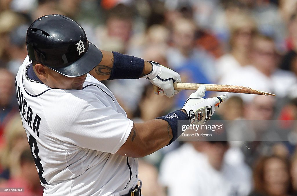 <a gi-track='captionPersonalityLinkClicked' href=/galleries/search?phrase=Miguel+Cabrera&family=editorial&specificpeople=202141 ng-click='$event.stopPropagation()'>Miguel Cabrera</a> #24 of the Detroit Tigers breaks his bat hitting into a ground out against the Tampa Bay Rays during the fourth inning at Comerica Park on July 5, 2014 in Detroit, Michigan.