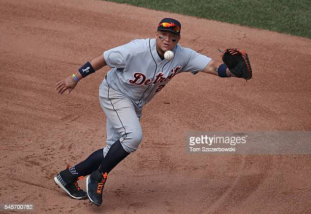 Miguel Cabrera of the Detroit Tigers cannot get to an RBI triple in the fifth inning hit by Ezequiel Carrera of the Toronto Blue Jays during MLB game...