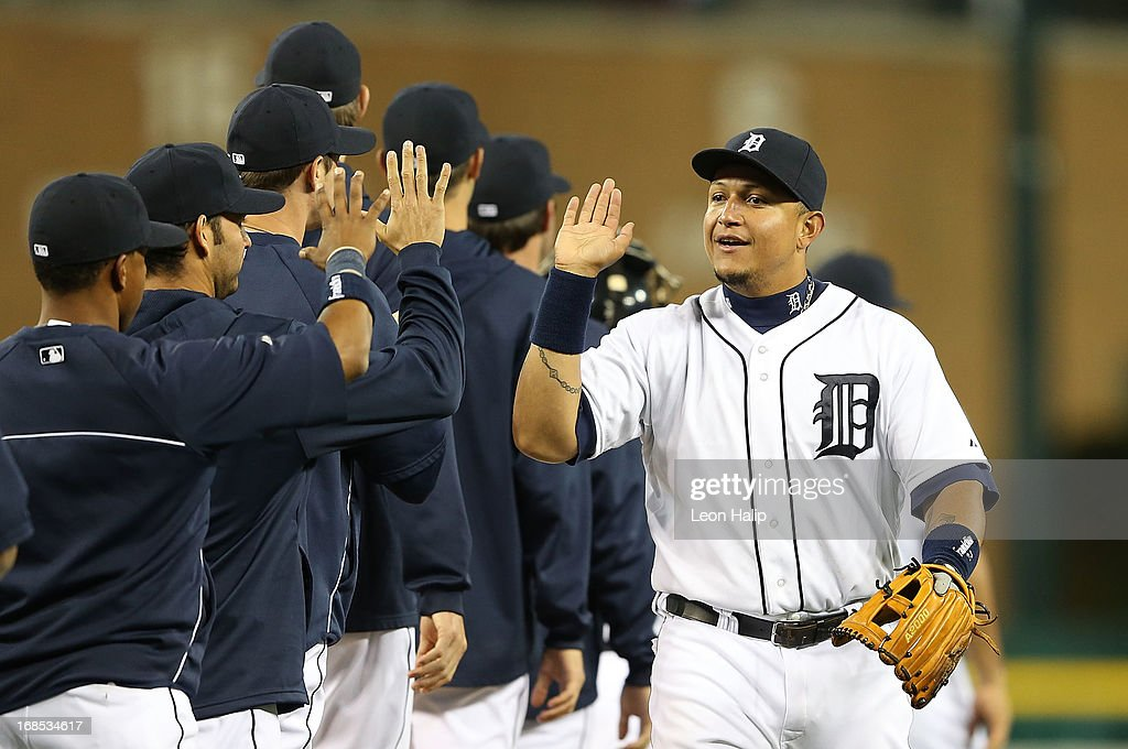 <a gi-track='captionPersonalityLinkClicked' href=/galleries/search?phrase=Miguel+Cabrera&family=editorial&specificpeople=202141 ng-click='$event.stopPropagation()'>Miguel Cabrera</a> #24 of the Detroit Tigers celebrates a win over the Cleveland Indians at Comerica Park on May 10, 2013 in Detroit, Michigan. The Tigers defeated the Indians 10-4.