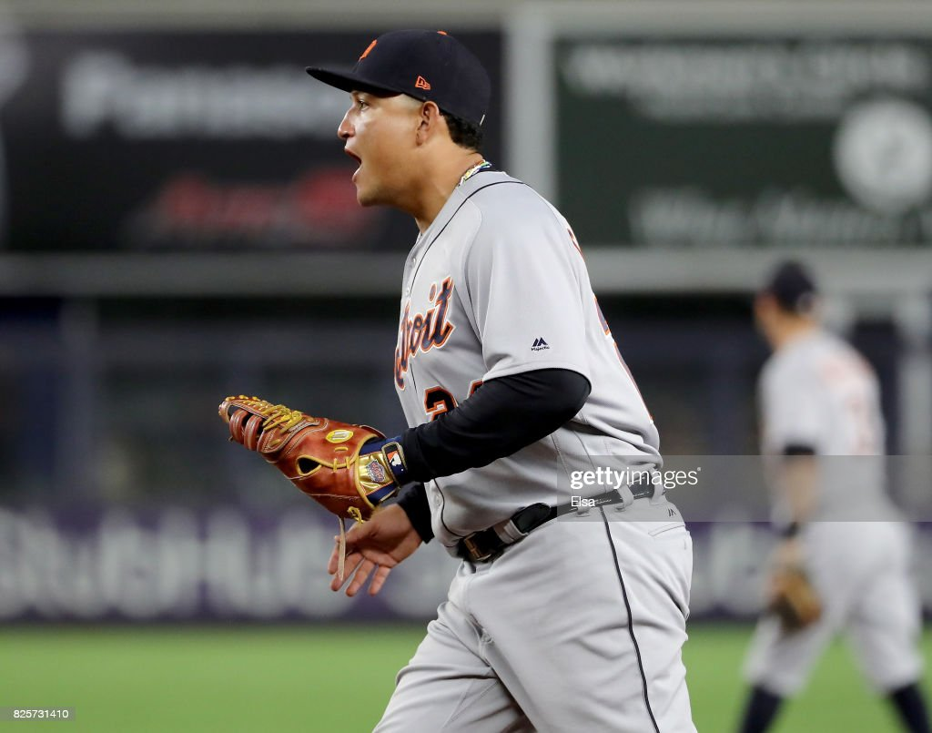 Miguel Cabrera #24 of the Detroit Tigers celebrates the last out of the game against the New York Yankees on August 2, 2017 at Yankee Stadium in the Bronx borough of New York City.