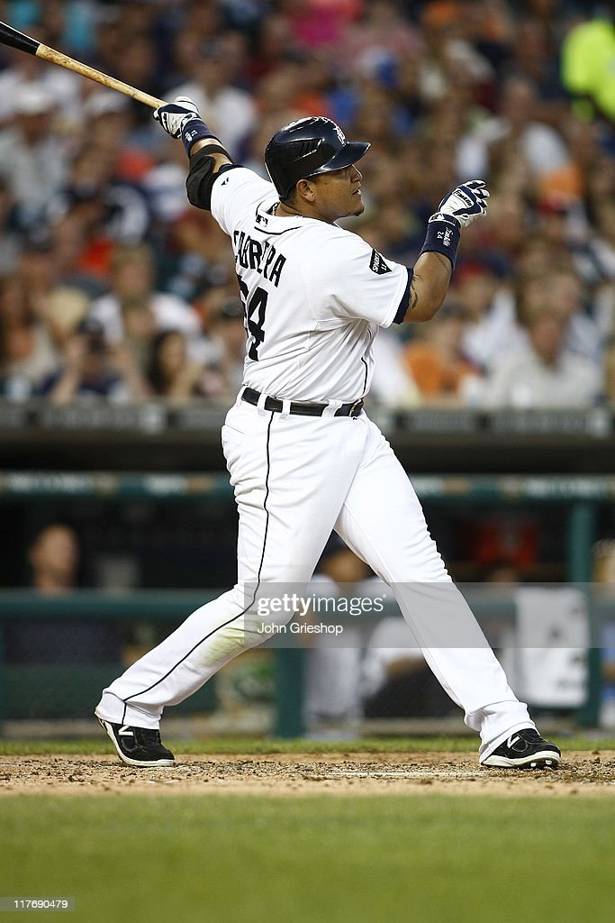 <a gi-track='captionPersonalityLinkClicked' href=/galleries/search?phrase=Miguel+Cabrera&family=editorial&specificpeople=202141 ng-click='$event.stopPropagation()'>Miguel Cabrera</a> #24 of the Detroit Tigers connects for a homerun during the game against the New York Mets on June 29, 2011 at Comerica Park in Detroit, Michigan. The Mets defeated the Tigers 16-9.