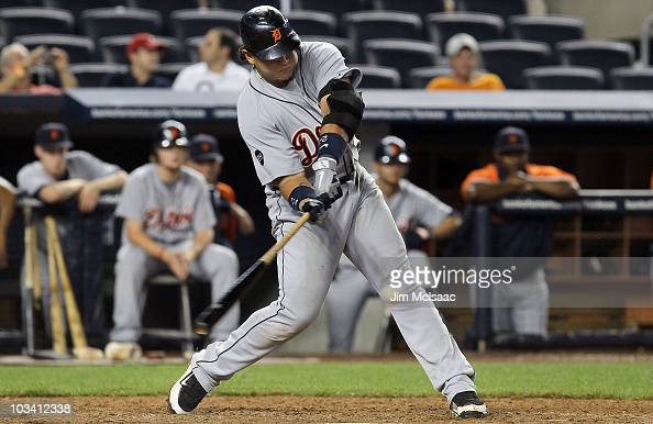 Miguel Cabrera of the Detroit Tigers connects on a ninth inning home run against the New York Yankees on August 16 2010 at Yankee Stadium in the...