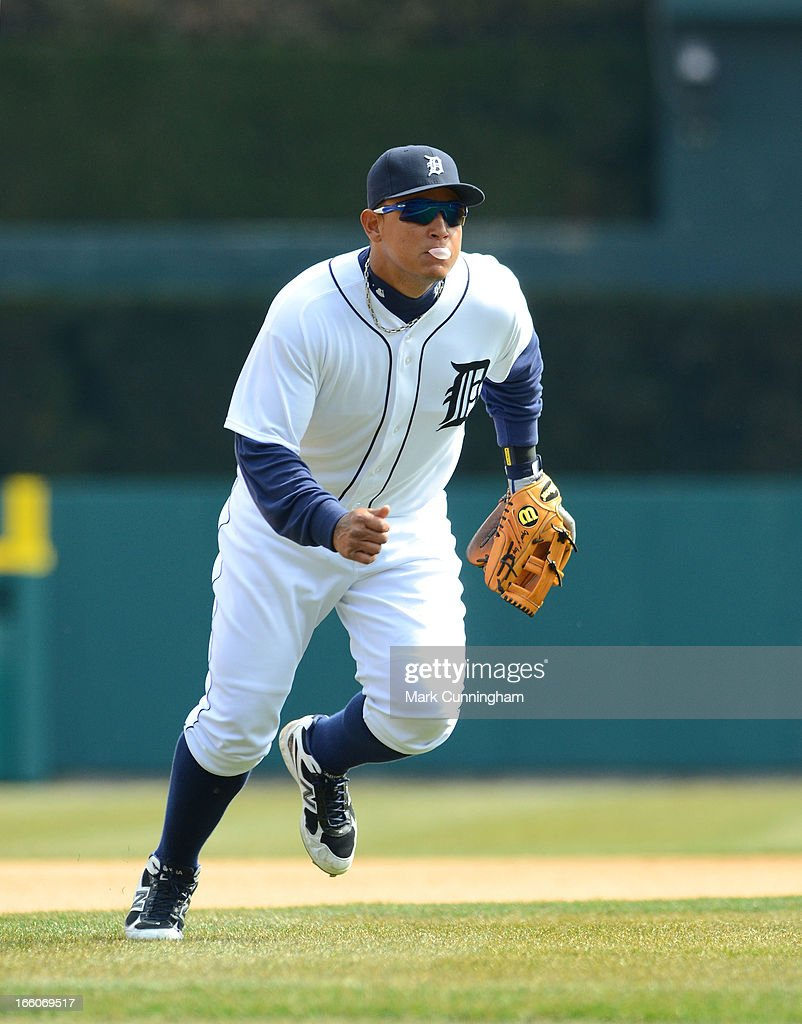 Miguel Cabrera #24 of the Detroit Tigers fields during the game against the New York Yankees at Comerica Park on April 7, 2013 in Detroit, Michigan. The Yankees defeated the Tigers 7-0.