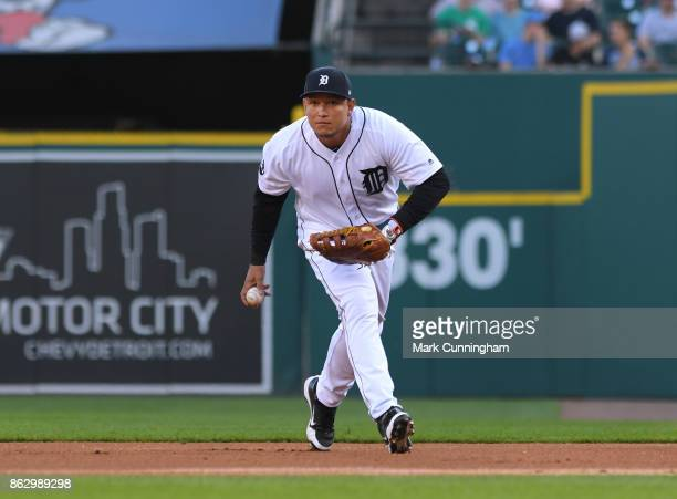 Miguel Cabrera of the Detroit Tigers fields during the game against the Chicago White Sox at Comerica Park on September 16 2017 in Detroit Michigan...