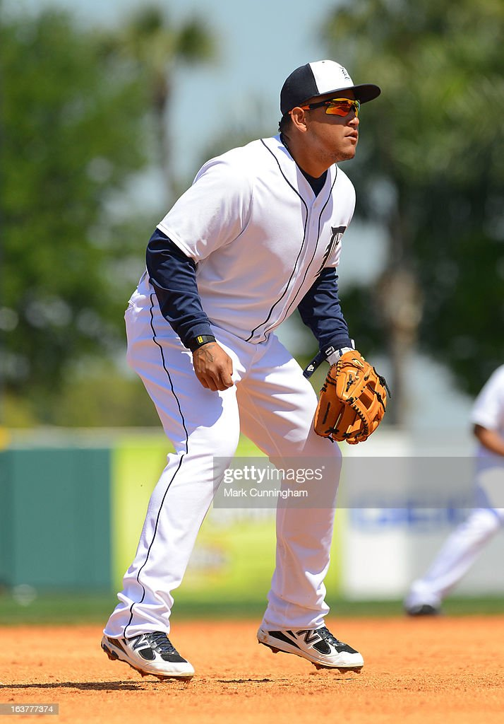 Miguel Cabrera #24 of the Detroit Tigers fields during the spring training game against the Toronto Blue Jays at Joker Marchant Stadium on March 15, 2013 in Lakeland, Florida. The Tigers defeated the Blue Jays 4-2.