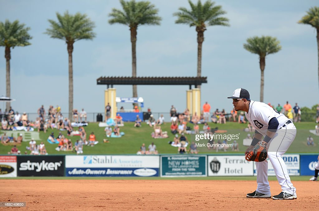 Miguel Cabrera of the Detroit Tigers fields during the Spring Training game against the Baltimore Orioles at Joker Marchant Stadium on March 26 2015...