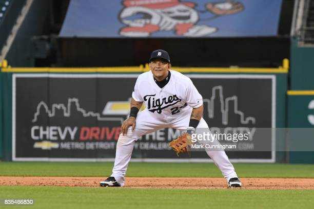 Miguel Cabrera of the Detroit Tigers fields while wearing a special jersey to honor the ¡Fiesta Tigres celebration game against the Minnesota Twins...