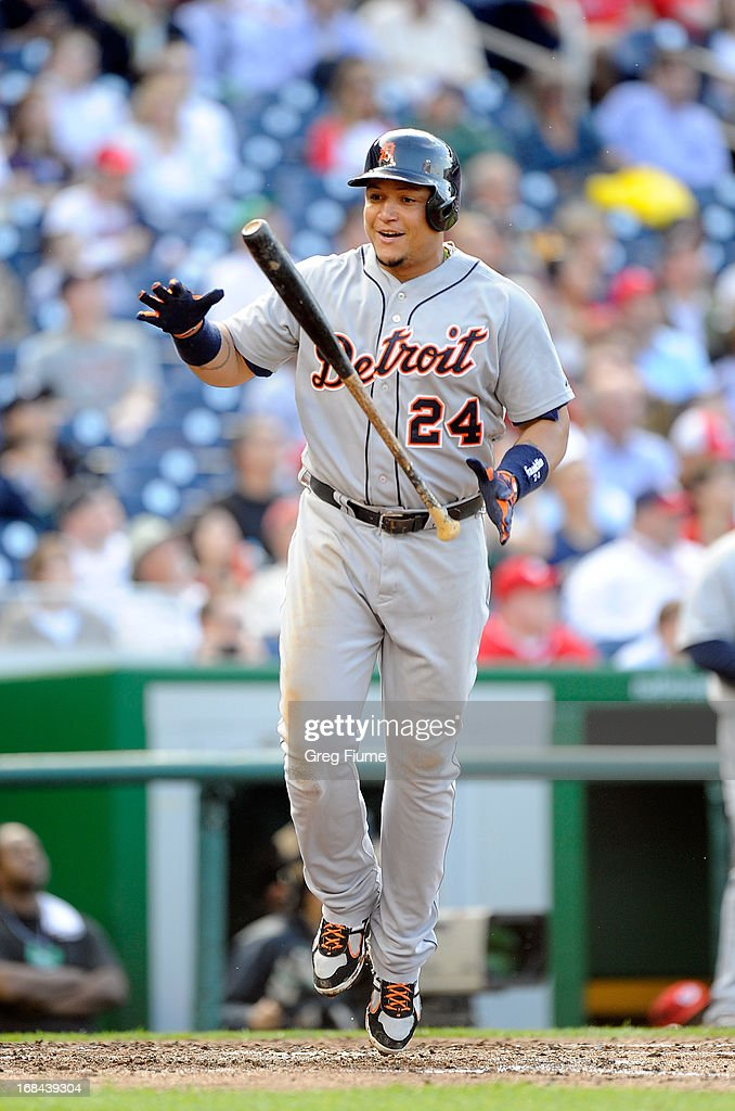 <a gi-track='captionPersonalityLinkClicked' href=/galleries/search?phrase=Miguel+Cabrera&family=editorial&specificpeople=202141 ng-click='$event.stopPropagation()'>Miguel Cabrera</a> #24 of the Detroit Tigers flips his bat after flying out in the fifth inning against the Washington Nationals at Nationals Park on May 9, 2013 in Washington, DC.