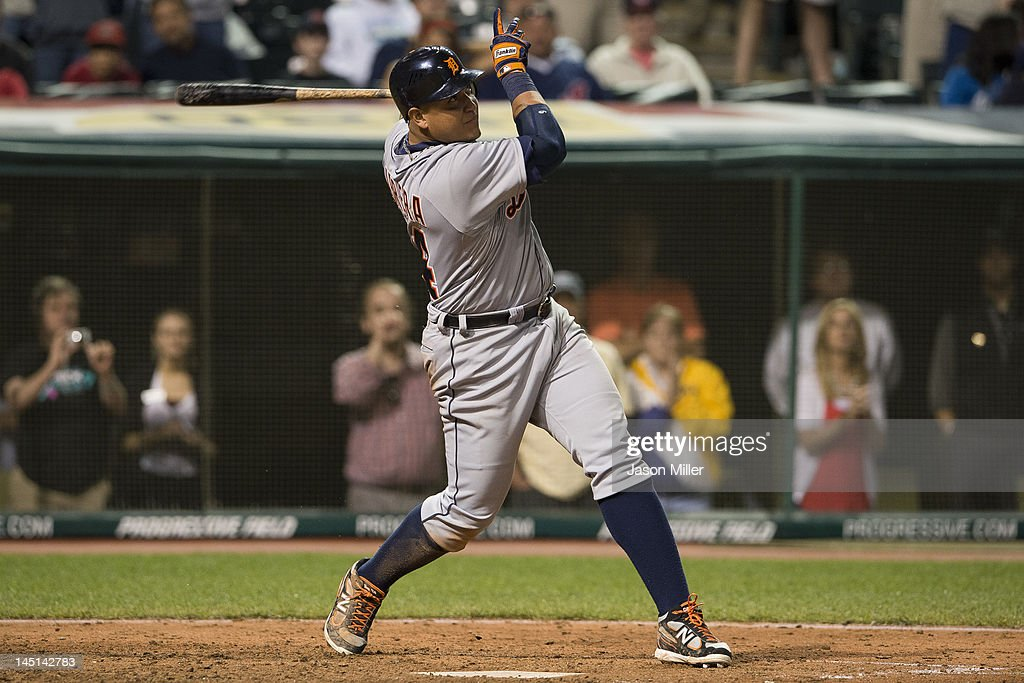 <a gi-track='captionPersonalityLinkClicked' href=/galleries/search?phrase=Miguel+Cabrera&family=editorial&specificpeople=202141 ng-click='$event.stopPropagation()'>Miguel Cabrera</a> #24 of the Detroit Tigers flys out to center for the final out of the game against the Cleveland Indians at Progressive Field on May 23, 2012 in Cleveland, Ohio. The Indians defeated the Tigers 4-2.