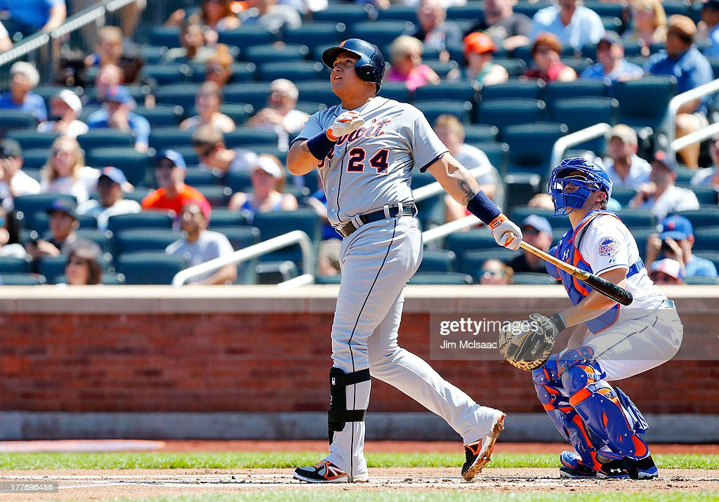 <a gi-track='captionPersonalityLinkClicked' href=/galleries/search?phrase=Miguel+Cabrera&family=editorial&specificpeople=202141 ng-click='$event.stopPropagation()'>Miguel Cabrera</a> #24 of the Detroit Tigers follows through on a first inning two run home run against the New York Mets at Citi Field on August 25, 2013 in the Flushing neighborhood of the Queens borough of New York City.