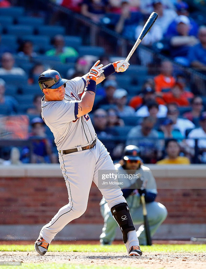 <a gi-track='captionPersonalityLinkClicked' href=/galleries/search?phrase=Miguel+Cabrera&family=editorial&specificpeople=202141 ng-click='$event.stopPropagation()'>Miguel Cabrera</a> #24 of the Detroit Tigers follows through on a ninth inning base hit against the New York Mets at Citi Field on August 25, 2013 in the Flushing neighborhood of the Queens borough of New York City. The Tigers defeated the Mets 11-3.