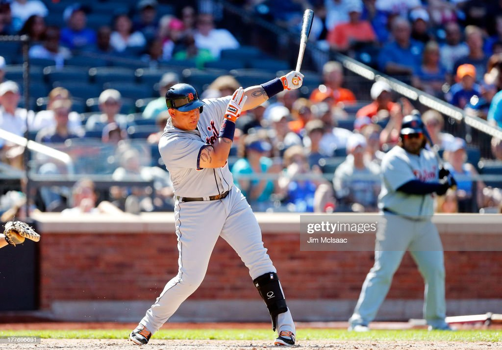 <a gi-track='captionPersonalityLinkClicked' href=/galleries/search?phrase=Miguel+Cabrera&family=editorial&specificpeople=202141 ng-click='$event.stopPropagation()'>Miguel Cabrera</a> #24 of the Detroit Tigers follows through on a seventh inning base hit against the New York Mets at Citi Field on August 25, 2013 in the Flushing neighborhood of the Queens borough of New York City. The Tigers defeated the Mets 11-3.