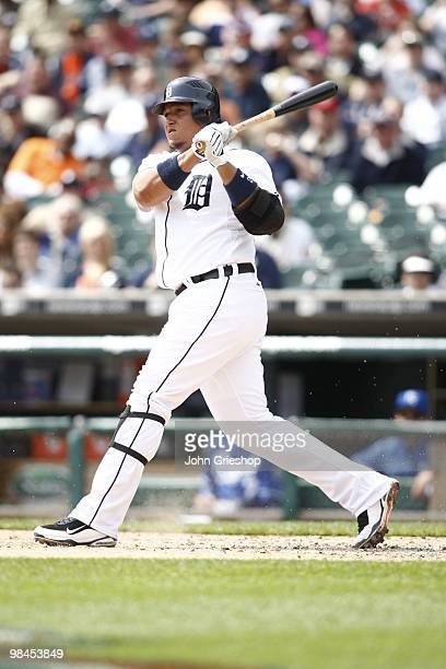 Miguel Cabrera of the Detroit Tigers follows through on a swing during the game between the Kansas City Royals and the Detroit Tigers on Monday April...