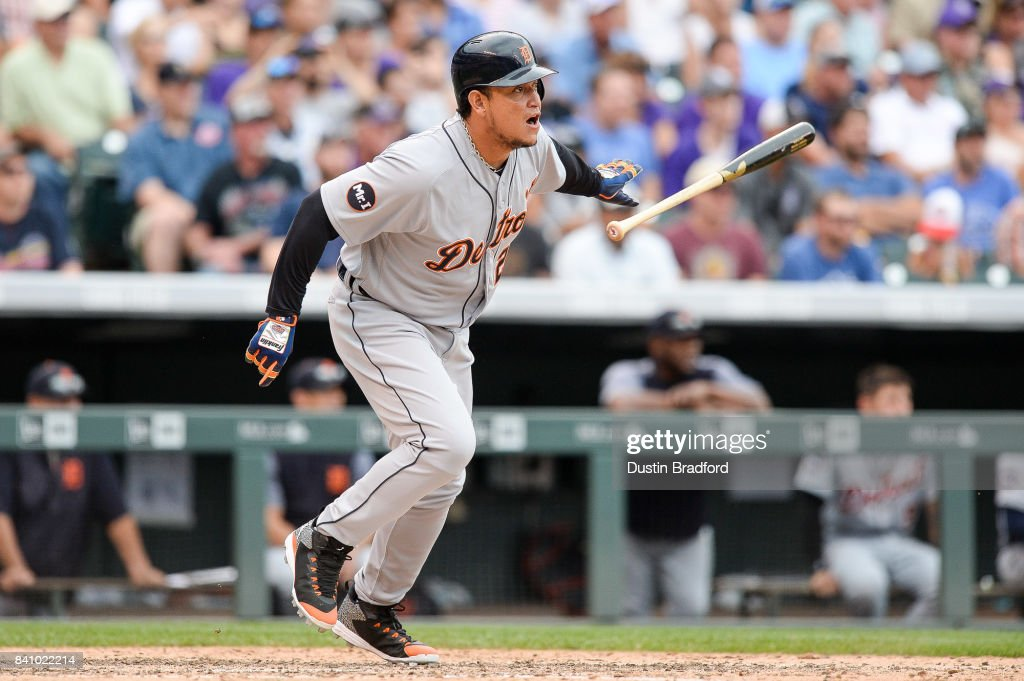 Miguel Cabrera #24 of the Detroit Tigers has an RBI as he grounds into a double play with the bases loaded in the eighth inning of a game at Coors Field on August 30, 2017 in Denver, Colorado.