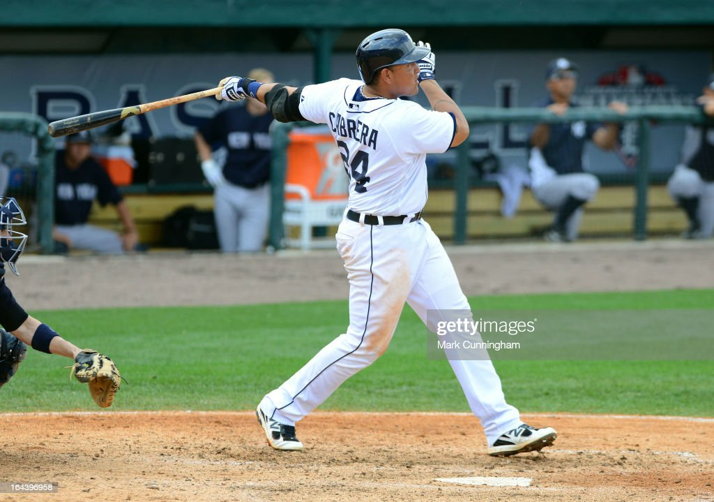 Miguel Cabrera #24 of the Detroit Tigers hits a 2-run home run in the 7th inning of the spring training game against the New York Yankees at Joker Marchant Stadium on March 23, 2013 in Lakeland, Florida. The Tigers defeated the Yankees 10-6.