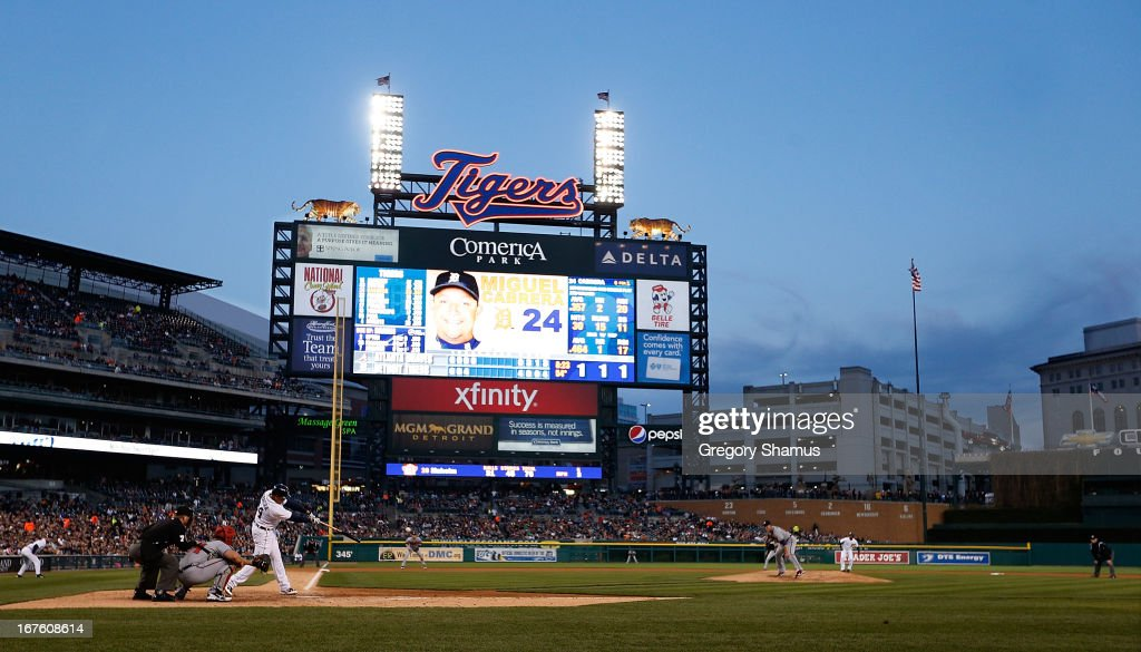<a gi-track='captionPersonalityLinkClicked' href=/galleries/search?phrase=Miguel+Cabrera&family=editorial&specificpeople=202141 ng-click='$event.stopPropagation()'>Miguel Cabrera</a> #24 of the Detroit Tigers hits a fourth inning single off of <a gi-track='captionPersonalityLinkClicked' href=/galleries/search?phrase=Paul+Maholm&family=editorial&specificpeople=585406 ng-click='$event.stopPropagation()'>Paul Maholm</a> #28 of the Atlanta Braves at Comerica Park on April 26, 2013 in Detroit, Michigan.
