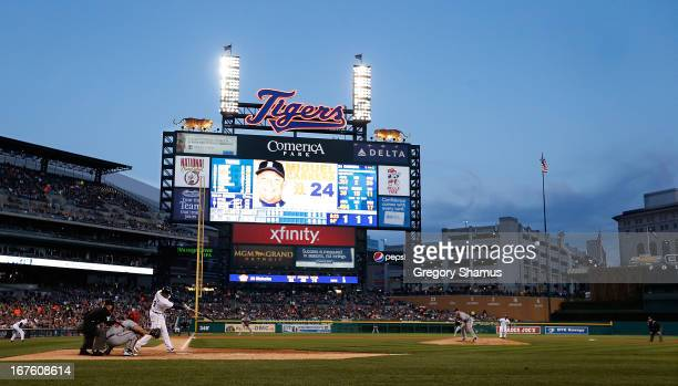 Miguel Cabrera of the Detroit Tigers hits a fourth inning single off of Paul Maholm of the Atlanta Braves at Comerica Park on April 26 2013 in...