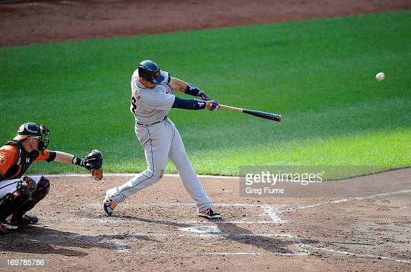 Miguel Cabrera of the Detroit Tigers hits a grand slam in the fourth inning against the Baltimore Orioles at Oriole Park at Camden Yards on June 1...