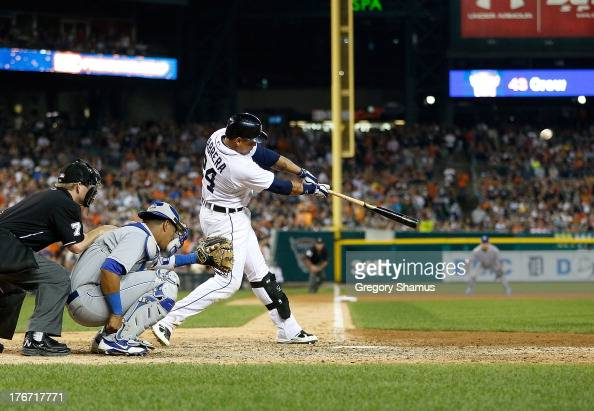 Miguel Cabrera of the Detroit Tigers hits a ninth inning walk off home run in front of Salvador Perez of the Kansas City Royals to beat the Royals 65...