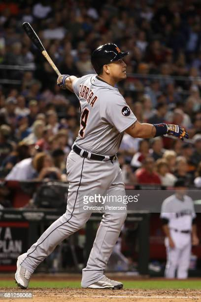Miguel Cabrera of the Detroit Tigers hits a RBI double against the Arizona Diamondbacks during the fifth inning of the MLB game at Chase Field on May...