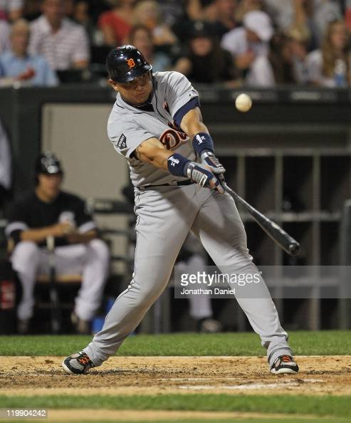 Miguel Cabrera of the Detroit Tigers hits a runscoring single in the 6th inning against the Chicago White Sox at US Cellular Field on July 26 2011 in...