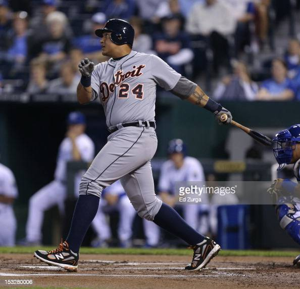 Miguel Cabrera of the Detroit Tigers hits a single against the Kansas City Royals in the first inning at Kauffman Stadium on October 2 2012 in Kansas...